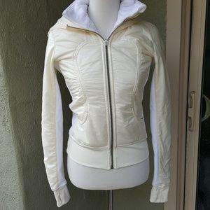 Lululemon White Pale Yellow Jacket with Hood